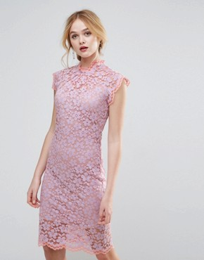 photo Contrast Floral Lace Shift Dress by Traffic People, color Lilac - Image 1