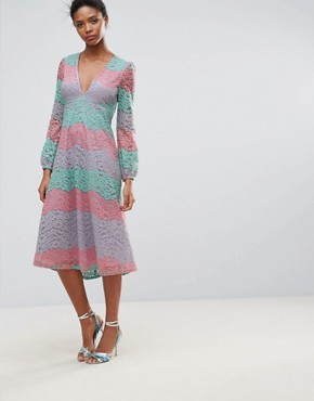 photo Long Sleeve Layered Lace Midi Dress by Traffic People, color Pink - Image 1