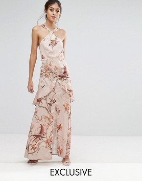 photo Printed Satin Maxi Dress with Cutaway Neck Detail by Hope & Ivy, color Nude/Print - Image 1