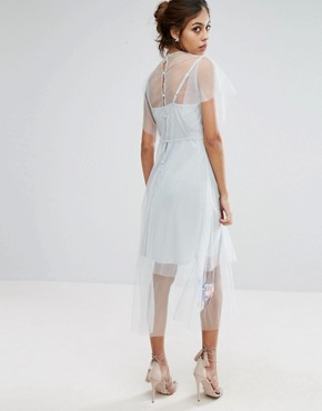 photo Embroidered Mesh Midi Skater Dress by Hope & Ivy, color Grey - Image 2