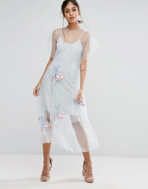 photo Embroidered Mesh Midi Skater Dress by Hope & Ivy, color Grey - Image 1