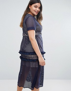 photo Tiered Premium Lace Midi Dress by Truly You, color Navy - Image 2