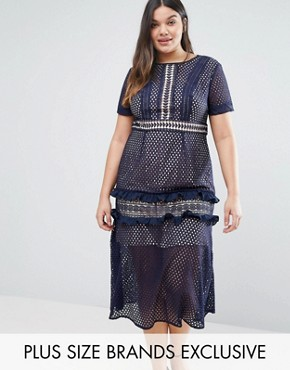 photo Tiered Premium Lace Midi Dress by Truly You, color Navy - Image 1