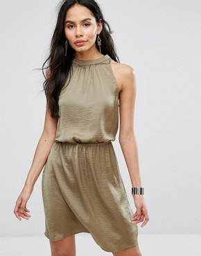 photo Halterneck Skater Dress by b.Young, color Jungle Green - Image 2