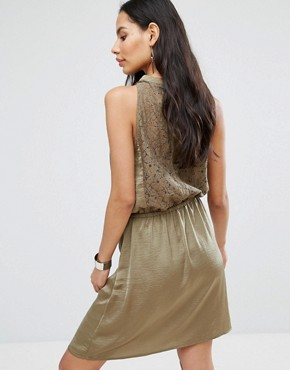 photo Halterneck Skater Dress by b.Young, color Jungle Green - Image 1