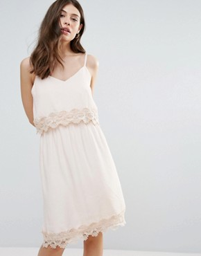photo Summer Dress with Lace Insert by b.Young, color Pale Blush - Image 1