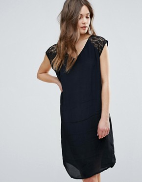 photo Midi Dress with Lace Sleeve & Open Back by b.Young, color Black - Image 2