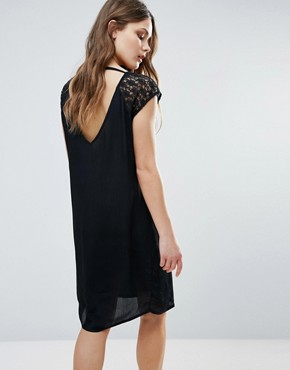 photo Midi Dress with Lace Sleeve & Open Back by b.Young, color Black - Image 1