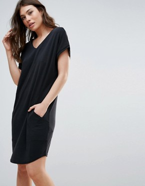 photo Short Sleeve V-Neck Midi Dress by b.Young, color Black - Image 1