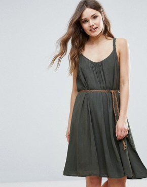 photo Summer Dress with Belt Detail by b.Young, color Tropic Green - Image 1