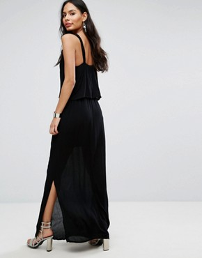 photo Frill Overlay Cami Maxi Dress by b.Young, color Black - Image 2
