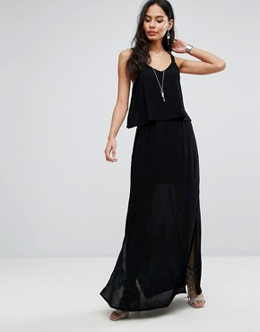 photo Frill Overlay Cami Maxi Dress by b.Young, color Black - Image 1