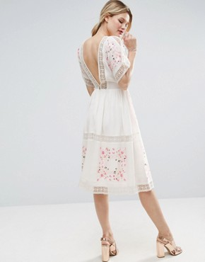 photo Embroidered Midi Dress by ASOS PREMIUM, color Multi - Image 2