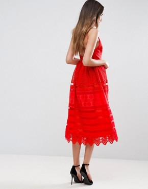 photo Broderie Midi Prom Dress with Low Back by ASOS PREMIUM, color Red - Image 2