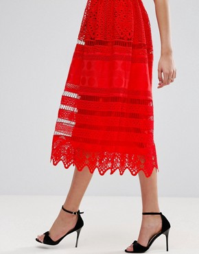 photo Broderie Midi Prom Dress with Low Back by ASOS PREMIUM, color Red - Image 3