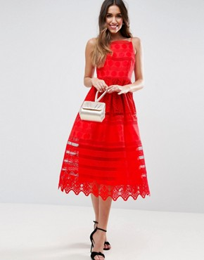 photo Broderie Midi Prom Dress with Low Back by ASOS PREMIUM, color Red - Image 4
