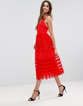 photo Broderie Midi Prom Dress with Low Back by ASOS PREMIUM, color Red - Image 1