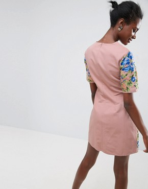 photo Embroidered Shift Mini Dress by ASOS PREMIUM, color Nude - Image 2