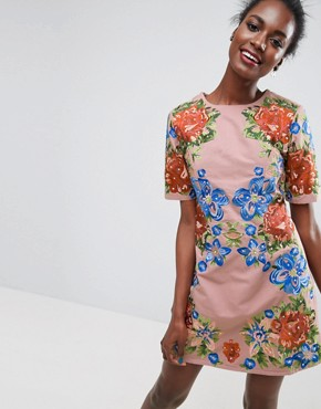 photo Embroidered Shift Mini Dress by ASOS PREMIUM, color Nude - Image 1