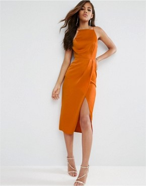 photo Drape Front Delicate Back Midi Dress by ASOS TALL, color Orange - Image 2