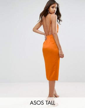 photo Drape Front Delicate Back Midi Dress by ASOS TALL, color Orange - Image 1