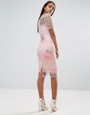 photo Bardot Cutwork Lace Pencil Dress with Floral Print by Paper Dolls Tall, color Multi - Image 2