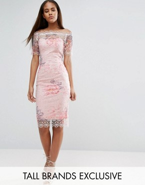 photo Bardot Cutwork Lace Pencil Dress with Floral Print by Paper Dolls Tall, color Multi - Image 1