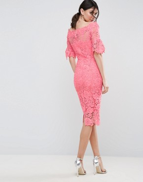 photo Bardot Cutwork Lace Pencil Dress by Paper Dolls Tall, color Coral - Image 2