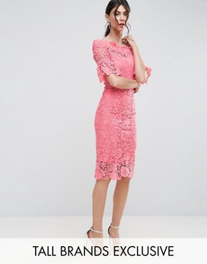 photo Bardot Cutwork Lace Pencil Dress by Paper Dolls Tall, color Coral - Image 1