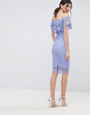 photo Bardot Lace Pencil Dress with Frill Detail by Paper Dolls Tall, color Blue - Image 2