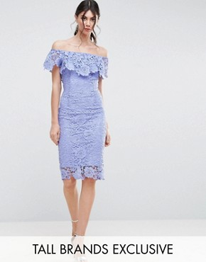 photo Bardot Lace Pencil Dress with Frill Detail by Paper Dolls Tall, color Blue - Image 1