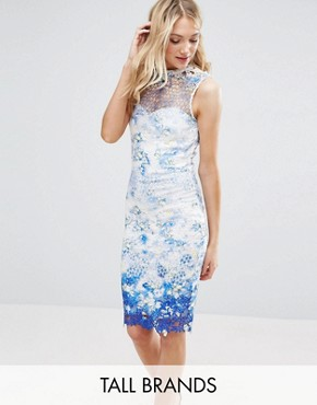 photo High Neck Printed Lace Pencil Dress by Paper Dolls Tall, color Multi - Image 1