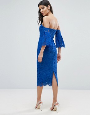 photo Lace Bardot Midi Pencil with Fluted Sleeves by ASOS, color Blue - Image 2