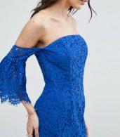 photo Lace Bardot Midi Pencil with Fluted Sleeves by ASOS, color Blue - Image 3