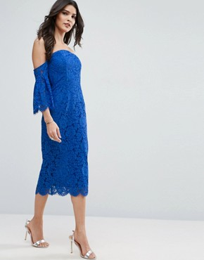 photo Lace Bardot Midi Pencil with Fluted Sleeves by ASOS, color Blue - Image 4
