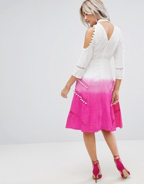 photo Cold Shoulder Dip Dye Victoriana Dress with Pom Pom Trims and Lace Inserts by ASOS PETITE PREMIUM, color Pink - Image 2