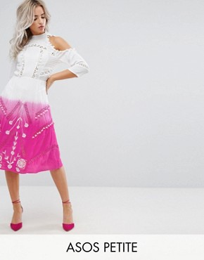 photo Cold Shoulder Dip Dye Victoriana Dress with Pom Pom Trims and Lace Inserts by ASOS PETITE PREMIUM, color Pink - Image 1