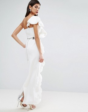 photo Ruffle Maxi Dress with Metal Belt by ASOS RED CARPET, color Ivory - Image 2