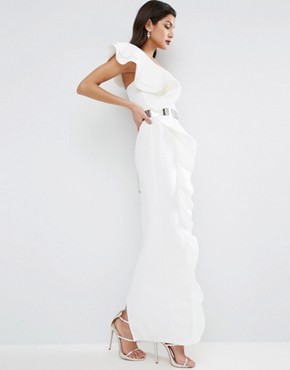 photo Ruffle Maxi Dress with Metal Belt by ASOS RED CARPET, color Ivory - Image 1