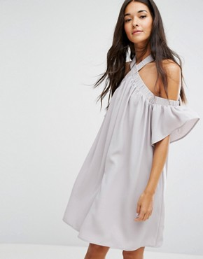 photo Bardot Dress with Cross Front by Lost Ink, color Grey - Image 1