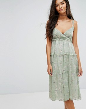 photo Midi Dress with Frills in Print by Lost Ink, color Mint - Image 1