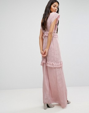 photo Maxi Dress with Frills by Lost Ink, color Pink - Image 2