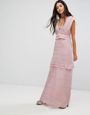 photo Maxi Dress with Frills by Lost Ink, color Pink - Image 1