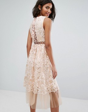 photo Midi Dress with Lace and Embroidery by Lost Ink, color Peach - Image 2
