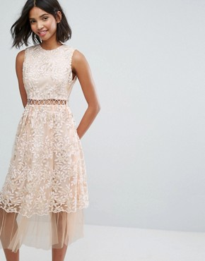 photo Midi Dress with Lace and Embroidery by Lost Ink, color Peach - Image 1