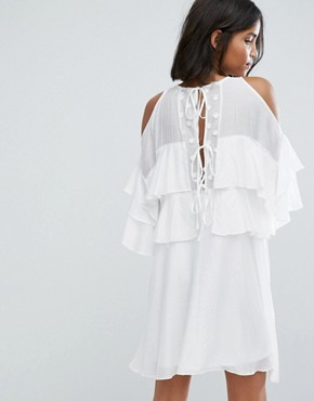 photo Floaty Dress with Frills by Lost Ink, color White - Image 2