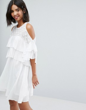 photo Floaty Dress with Frills by Lost Ink, color White - Image 1