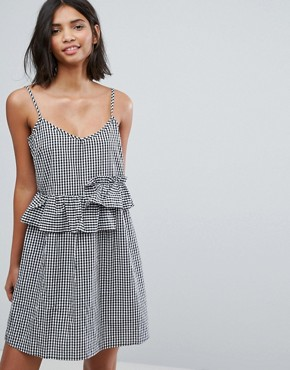 photo Mini Dress with Frills in Gingham by Lost Ink, color Black - Image 1