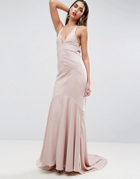 photo Deep Plunge Fishtail Maxi by ASOS RED CARPET, color Mink - Image 2
