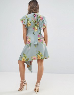 photo Asymmetric Tea Dress in Floral Print by ASOS Maternity, color Blue Base Floral - Image 2